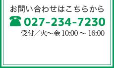 TEL:027-234-7230 受付/火~金9:00~16:00